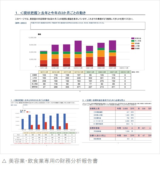美容業・飲食業専用の財務分析報告書